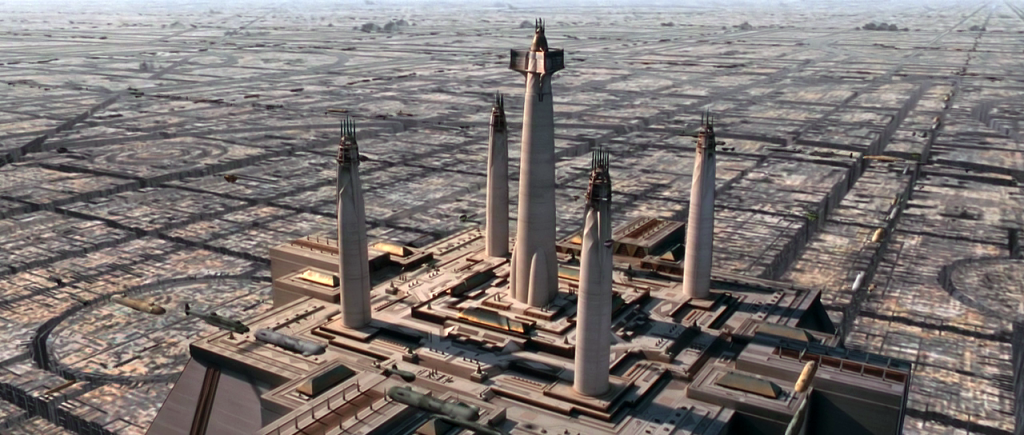"The Jedi rule from their ""ivory towers"" overlooking Coruscant."
