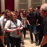JAC Redford speaks with students after event
